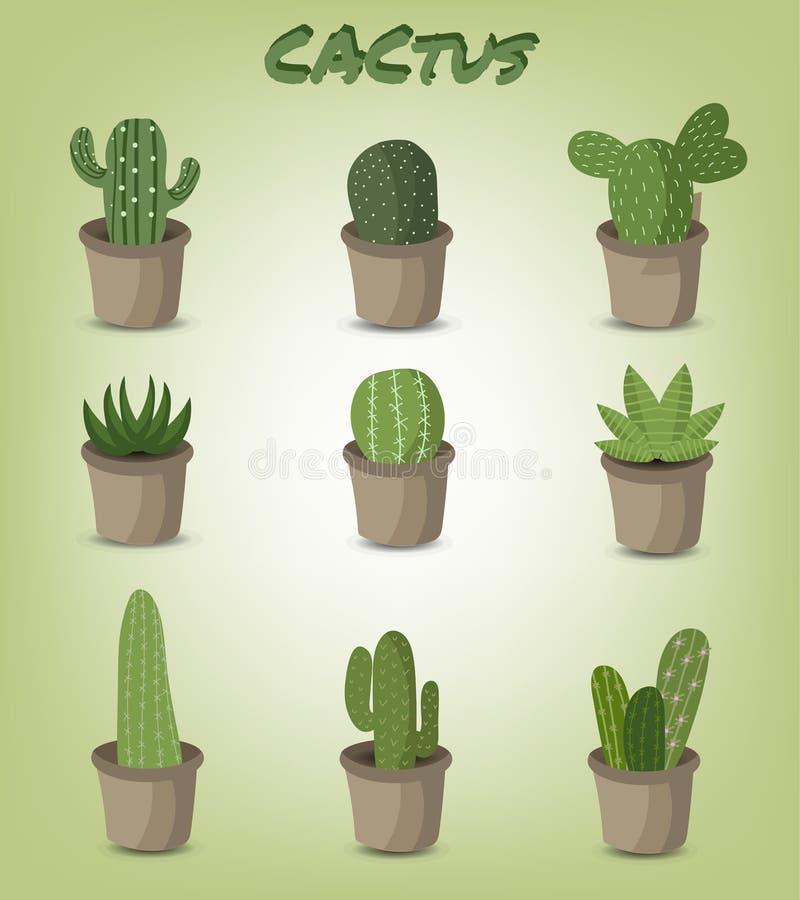 Set zielony kaktus royalty ilustracja