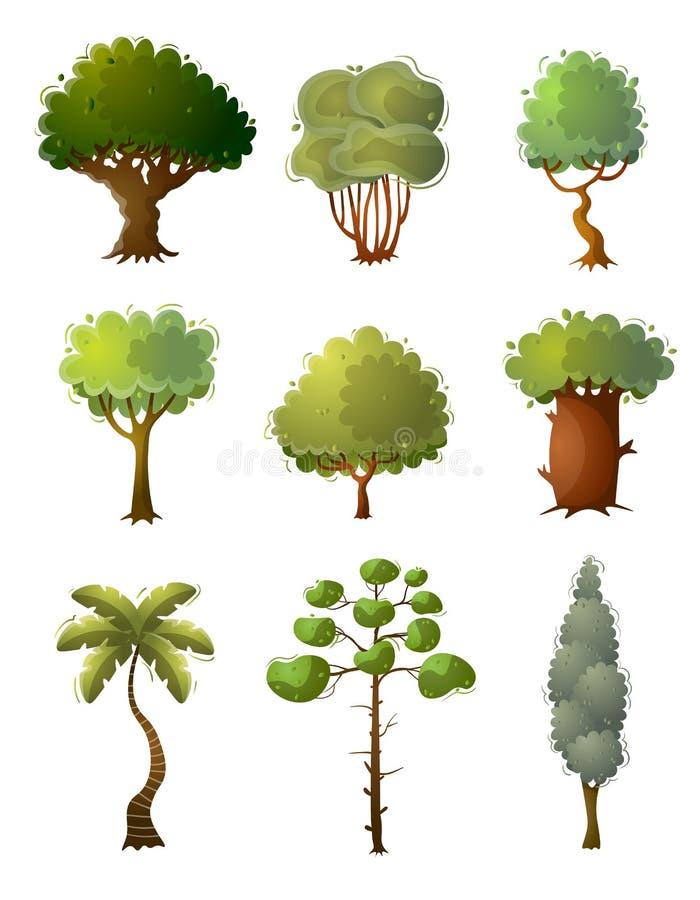 Set zielony kolorowy drzewo, r royalty ilustracja