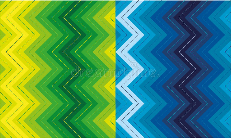 Set of zigzag patterns. Two versions of a seamless vertical zigzag pattern vector illustration