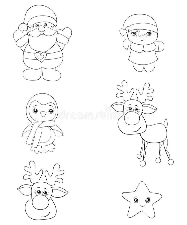 Set zim ikony, czarny i biały wizerunek Kreskowej sztuki stylu ilustracja royalty ilustracja