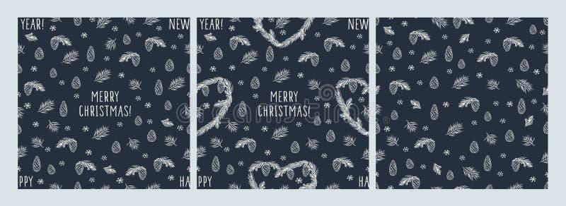 Set zima bezszwowi wzory z ręki rysującymi sercami, rożki, sosnowa świerczyna, płatki śniegu ilustracja wektor