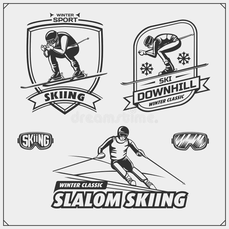 Set zima sportów emblematy, etykietki i projektów elementy, Narciarstwo, zjazdowy, slalom ilustracji