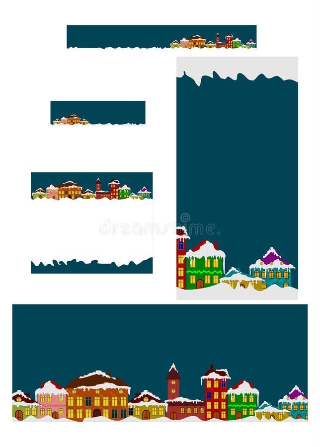 Set zima sztandary ilustracji
