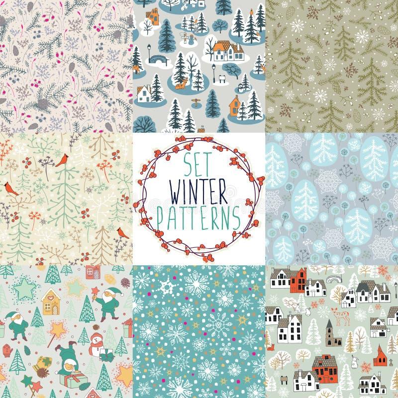 Set zima wzory royalty ilustracja