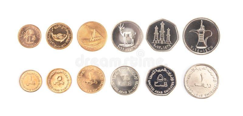 Set Zjednoczone Emiraty Arabskie monety na Białym tle fotografia stock