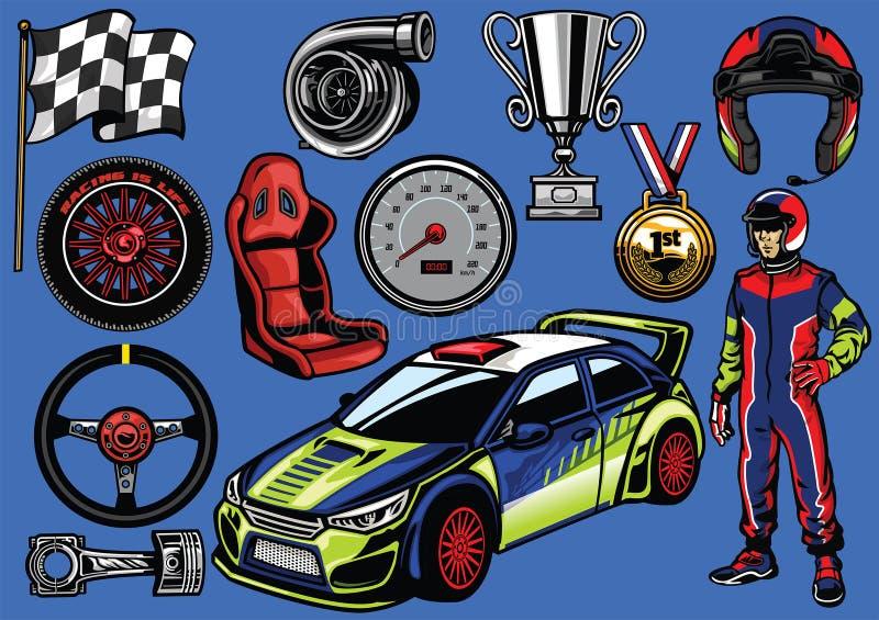 Set zlotny samochodowy kolor royalty ilustracja