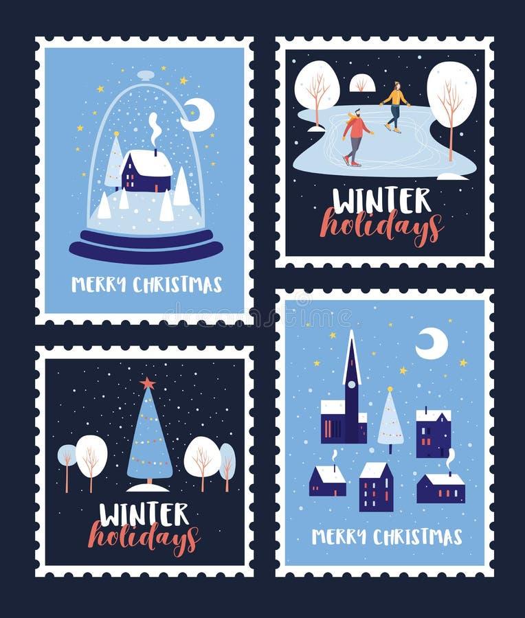 Set znaczki pocztowi dedykował Bożenarodzeniowi wakacje i nowy rok royalty ilustracja