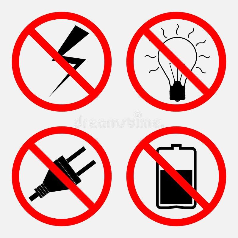 Set znaki zabrania Elektryczną operację bateria jest proh royalty ilustracja