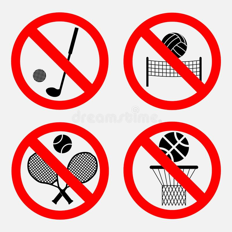 Set znaki zabrania gry royalty ilustracja