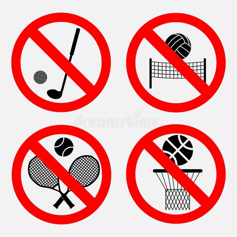 Set znaki zabrania gry ilustracja wektor