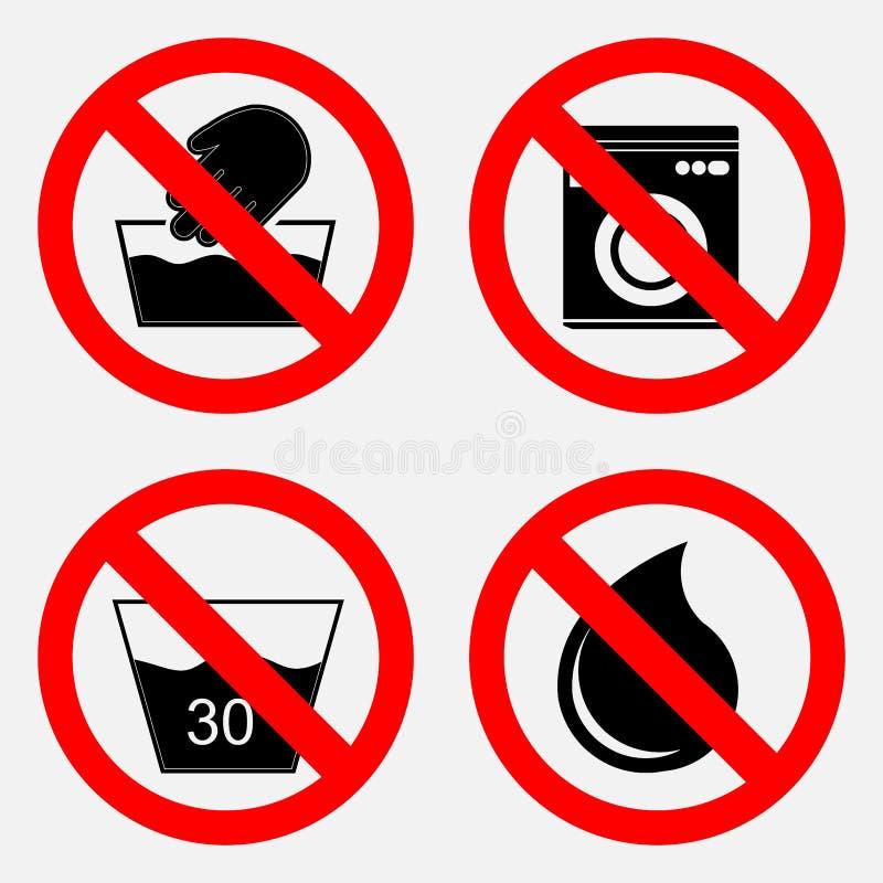 Set znaki zabrania myje use woda zabrania ilustracja wektor