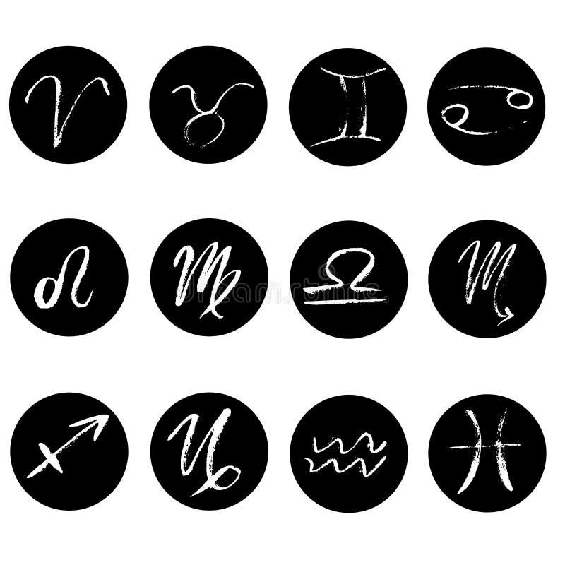 Set znaki zodiak ikony Ręka rysujący elementy robić z suchym muśnięciem Symbole zodiaka horoskop Wektorowy czarny i royalty ilustracja