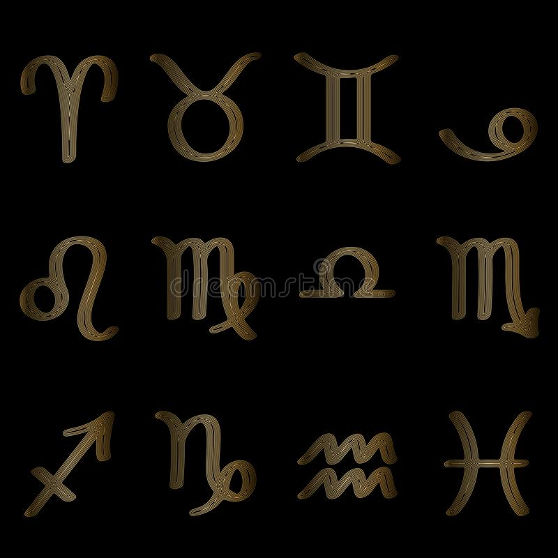 Set znaki zodiak, symbole zodiak, liniowy rysunek, znaki zodiak z złotymi liniami na czerni ilustracji