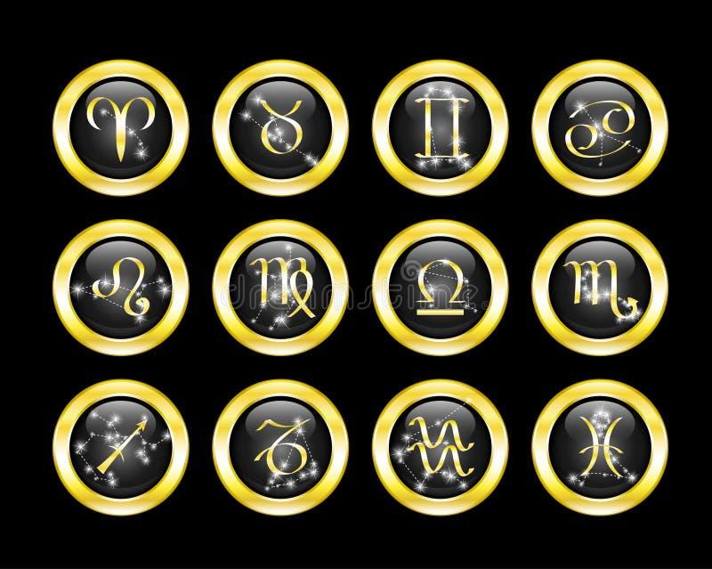 Set of zodiac buttons