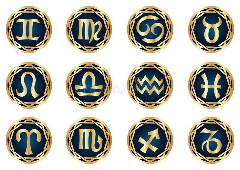 set zodiac för guldsymbol royaltyfri illustrationer