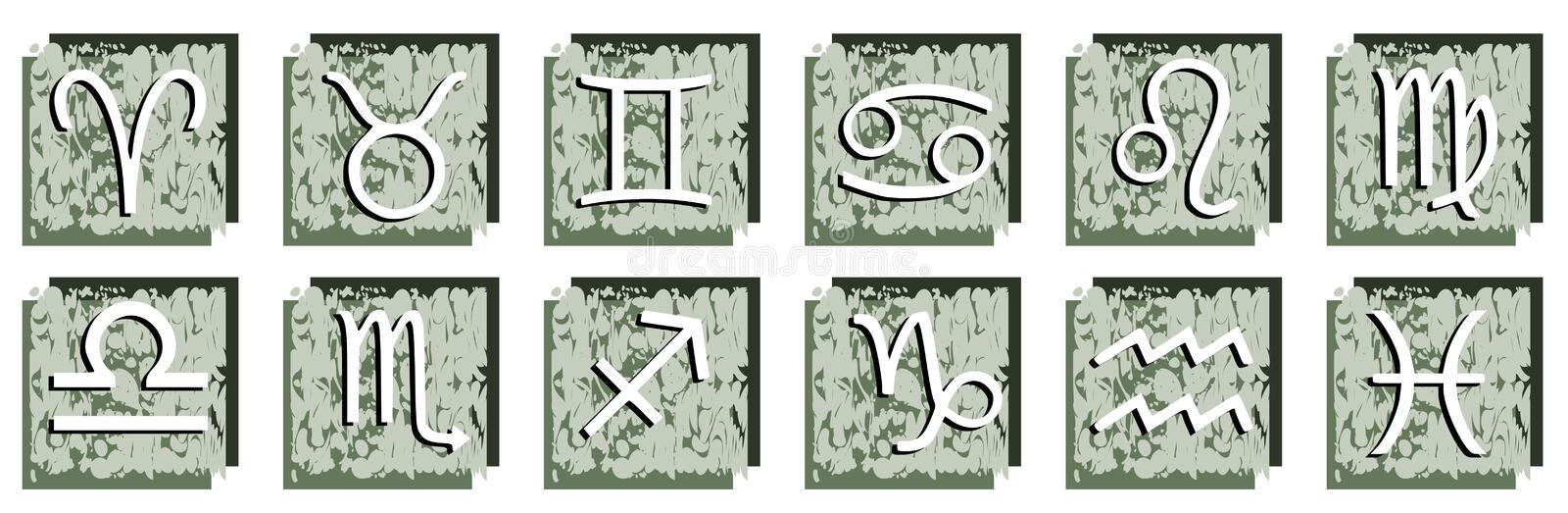 Set of Zodiac signs on abstract background stock illustration