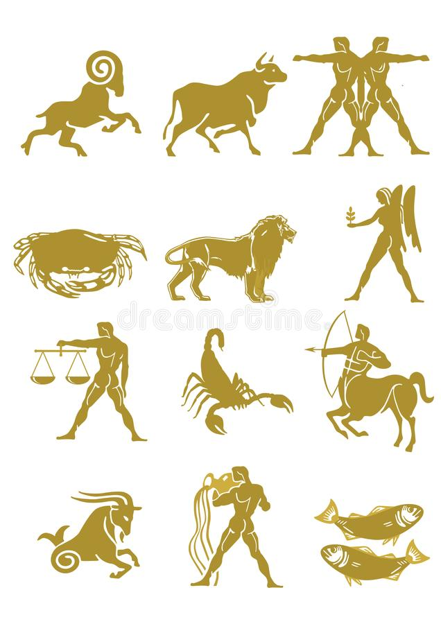 Set of zodiac signs stock illustration