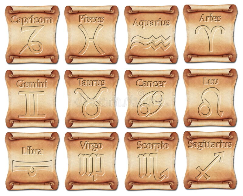 Download Set Of Zodiac Symbols On Ancient Scrolls Stock Illustration - Illustration: 28721115