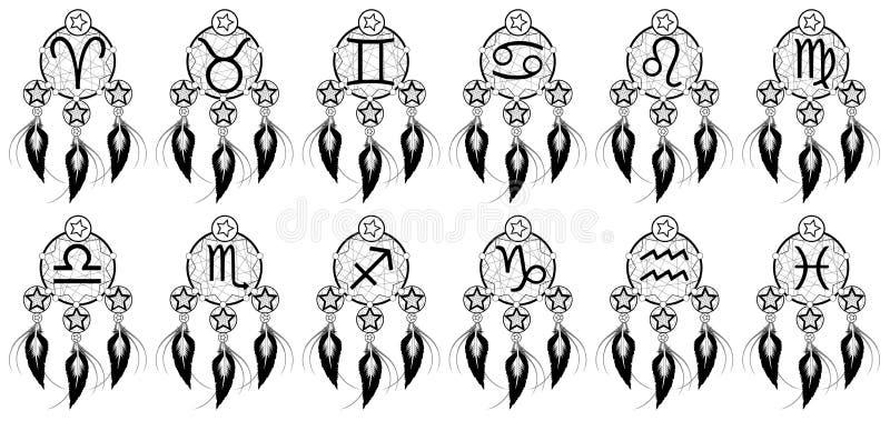 Set zodiaków znaki dalej wygania myśli ilustracja wektor