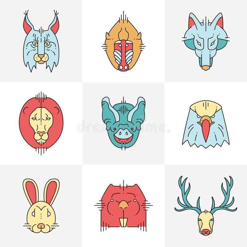 Set zwierzę liniowe płaskie ikony, etykietki ilustracja wektor