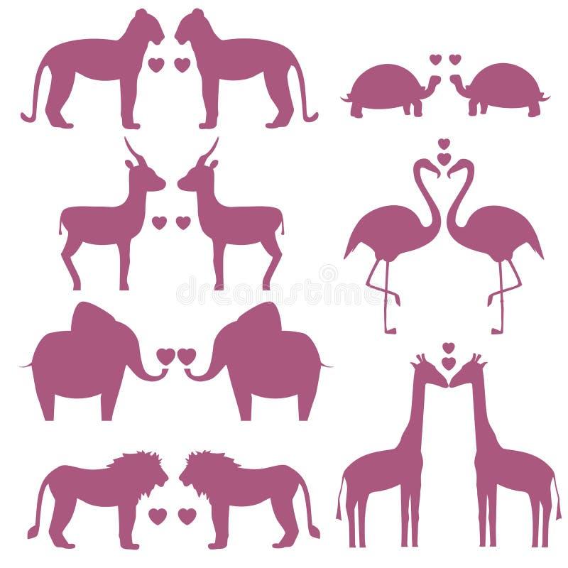 Set zwierzę para w miłości ilustracji