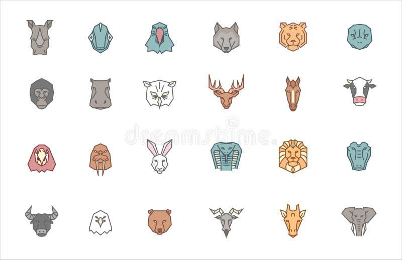 Set 24 zwierzęcej głowy Wektorowa zoo ikony kolekcja w plemiennym geometrycznym stylu i modnym koloru secie Rysunki egzot, dzicy  royalty ilustracja