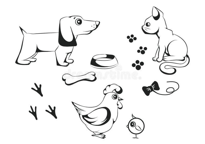 Set zwierzęta domowe ilustracji