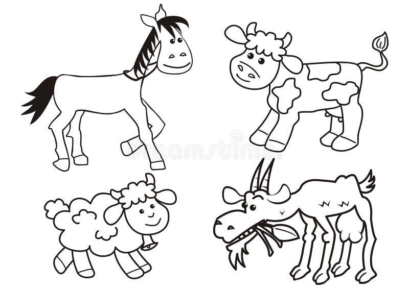 Set zwierzęta gospodarskie, barwi stronę, wektorowa ikona ilustracja wektor