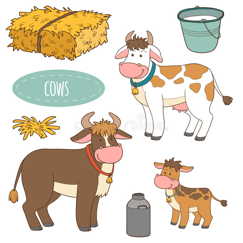 Set zwierzęta gospodarskie i przedmioty, wektorowe rodzinne krowy ilustracja wektor