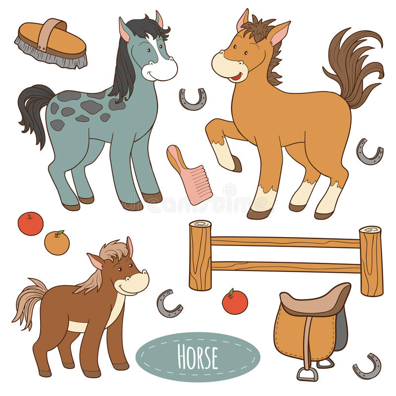Set zwierzęta gospodarskie i przedmioty, wektorowy rodzinny koń royalty ilustracja