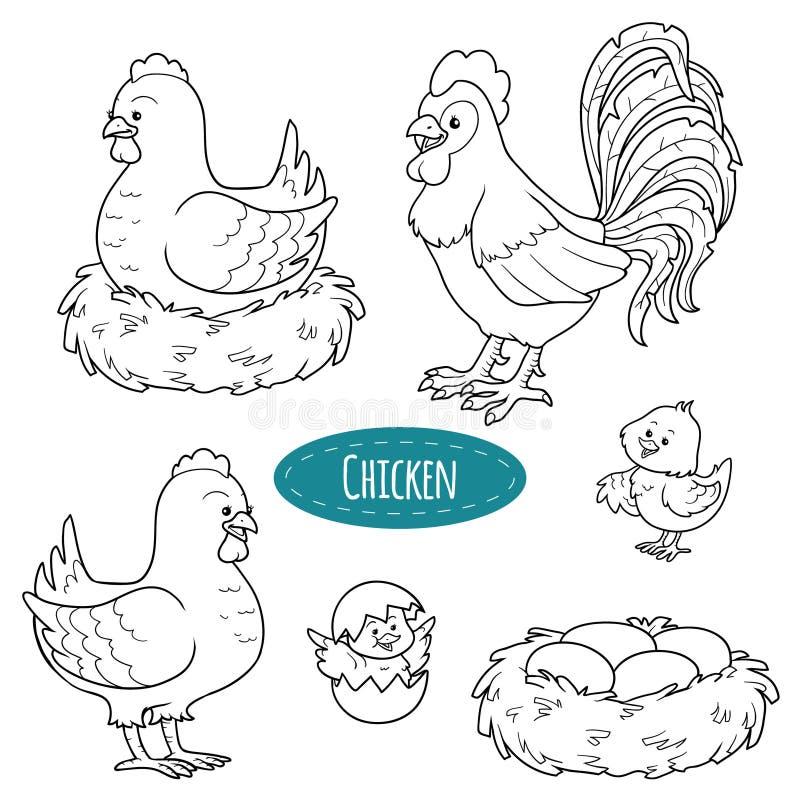 Set zwierzęta gospodarskie i przedmioty, wektorowy rodzinny kurczak fotografia royalty free