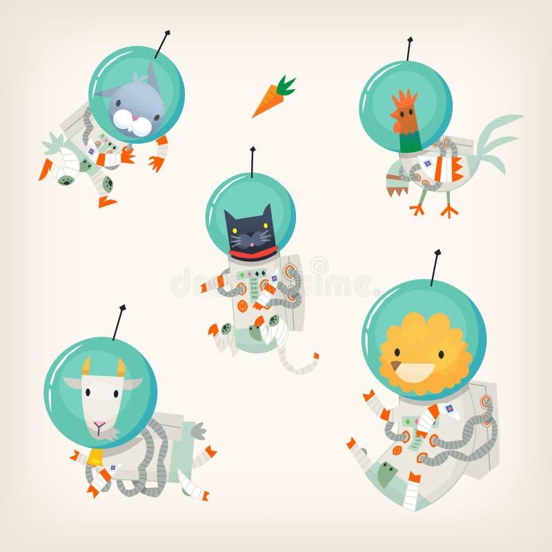 Set zwierzęta gospodarskie jest ubranym spacesuits unosi się w kosmosie ilustracja wektor