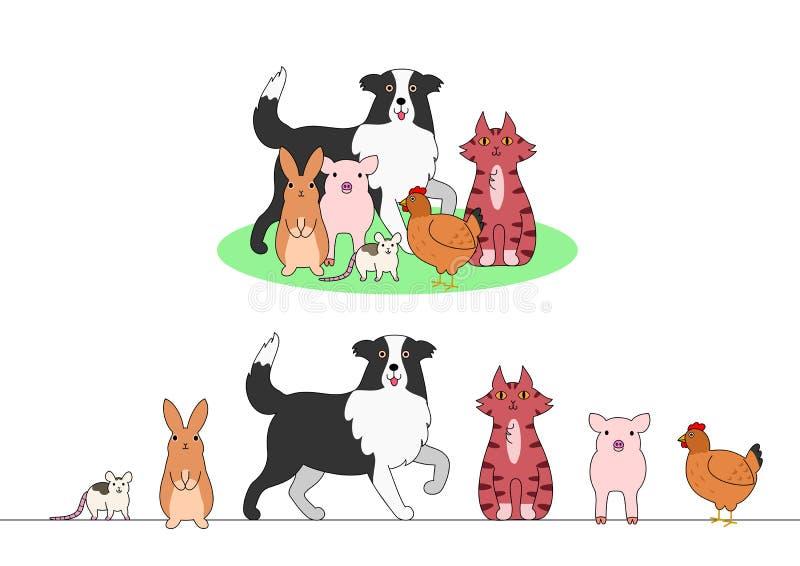 Set zwierzęta gospodarskie, rząd i grupa, royalty ilustracja