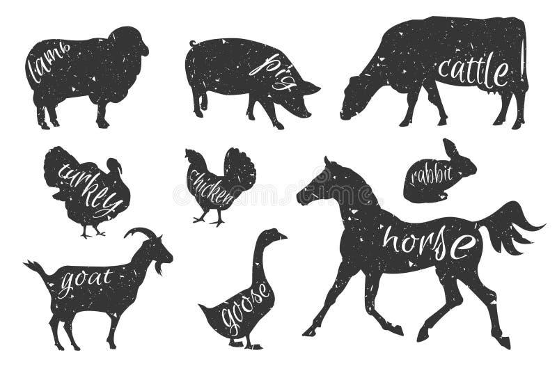 Set zwierzęta gospodarskie sylwetki ilustracja wektor