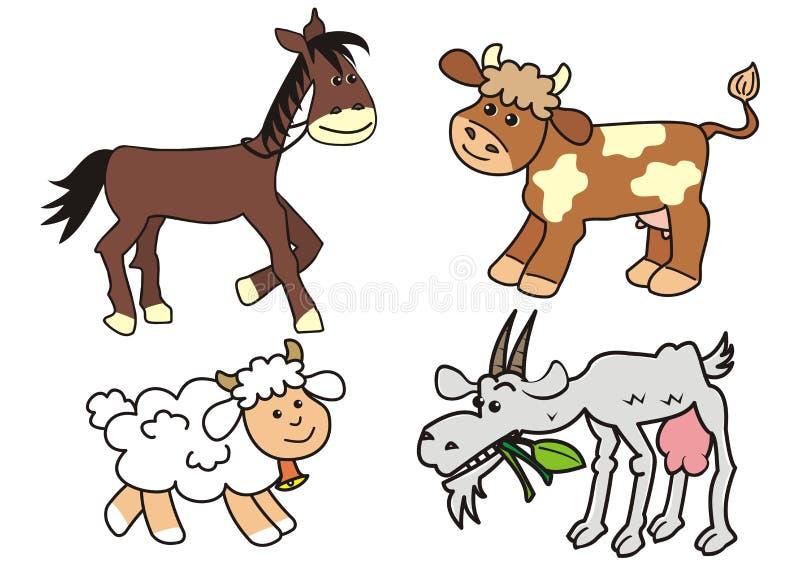 Set zwierzęta gospodarskie, wektorowa ikona ilustracja wektor