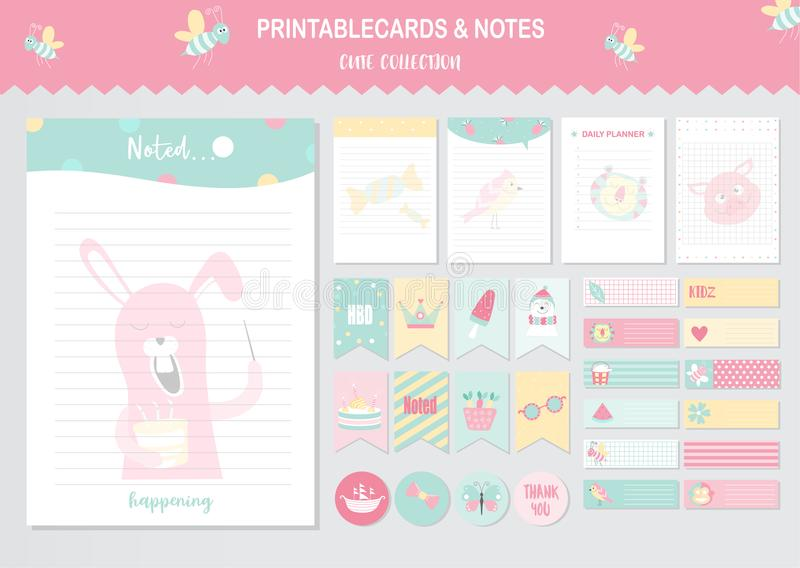 Set zwierzęta i śliczne wektor karty, chłodno, dziecko prysznic, printable, etykietki, karty, szablony, notatki, majchery, etykie ilustracja wektor