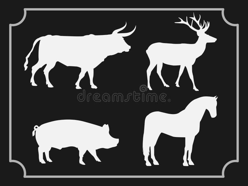 Set zwierzęta odizolowywający na czarnym tle ilustracji