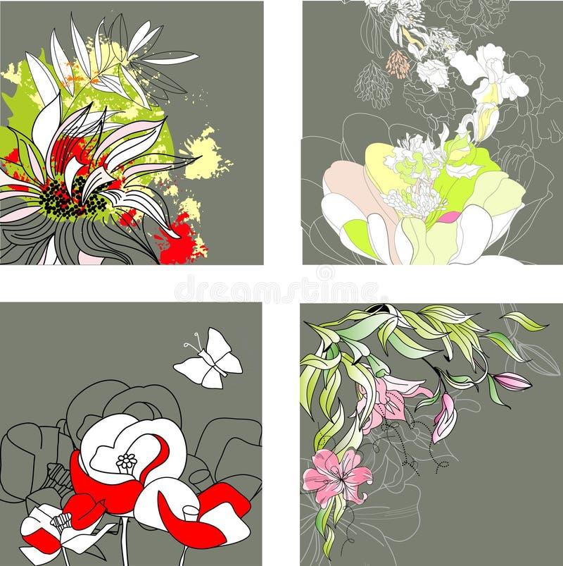 Set3 con priorità bassa floreale illustrazione di stock