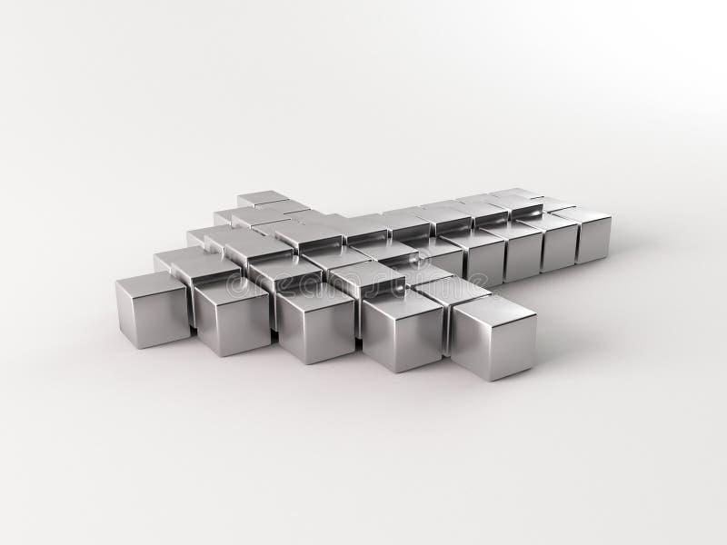 seta 3d de prata ilustração stock