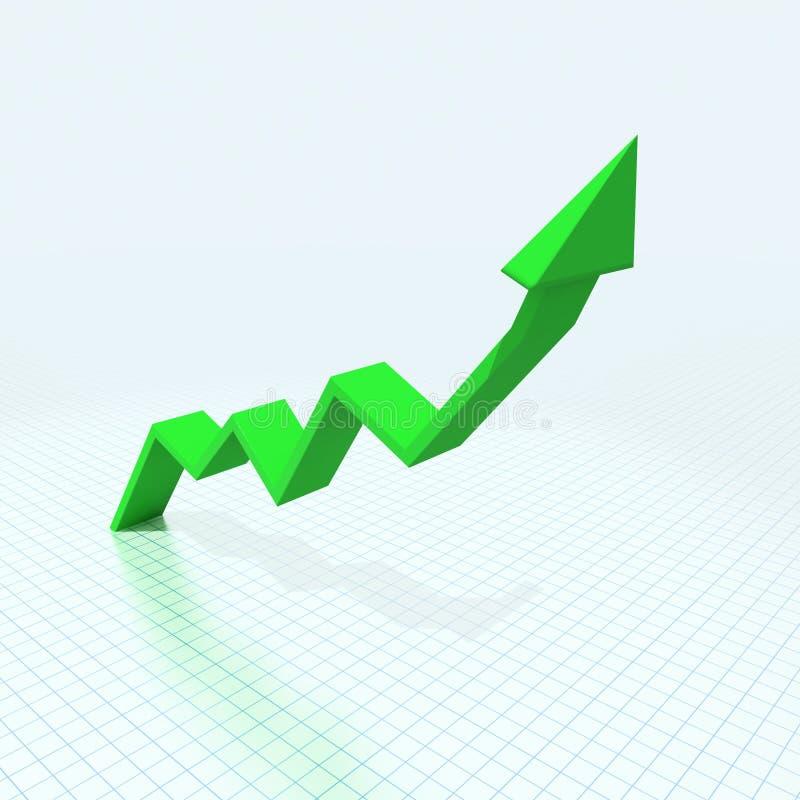 seta 3d verde imagem de stock