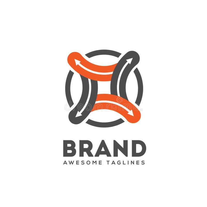 A seta abstrata conecta o vetor do logotipo ilustração stock