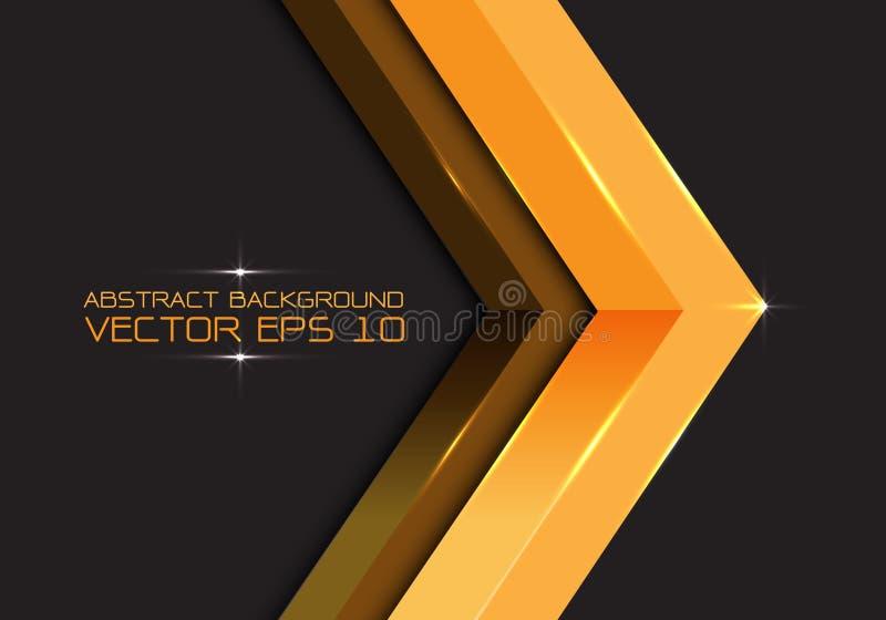 Seta abstrata 3D do ouro na obscuridade - espaço vazio cinzento para o vetor criativo futurista moderno do fundo do projeto do lu ilustração royalty free