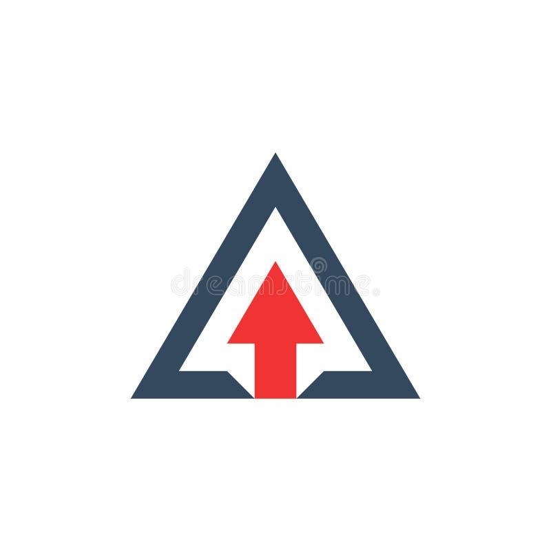 Seta acima dentro do triângulo, conceito do crescimento do negócio ilustração do vetor