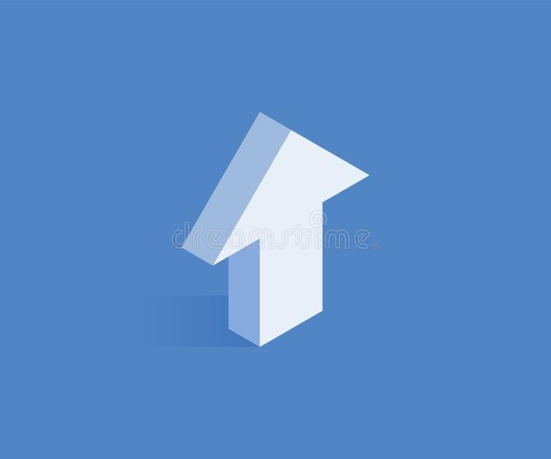 Seta acima do ícone isométrico Vector a ilustração para o design web no estilo 3D isométrico liso ilustração stock