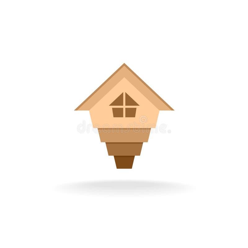 Seta acima do logotipo da casa ilustração stock