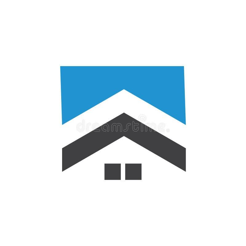 Seta acima do vetor abstrato geométrico do logotipo do telhado ilustração stock