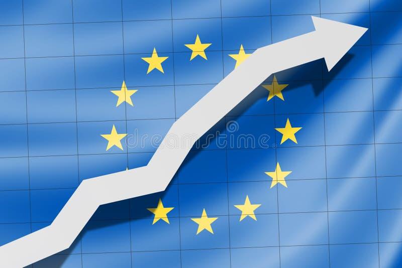 Seta acima na bandeira de UE Europa como o fundo ilustração royalty free