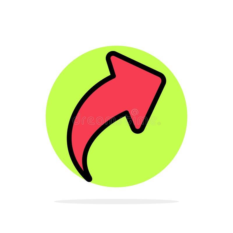 Seta, acima, sentido, ícone liso da cor do fundo abstrato direito do círculo ilustração stock