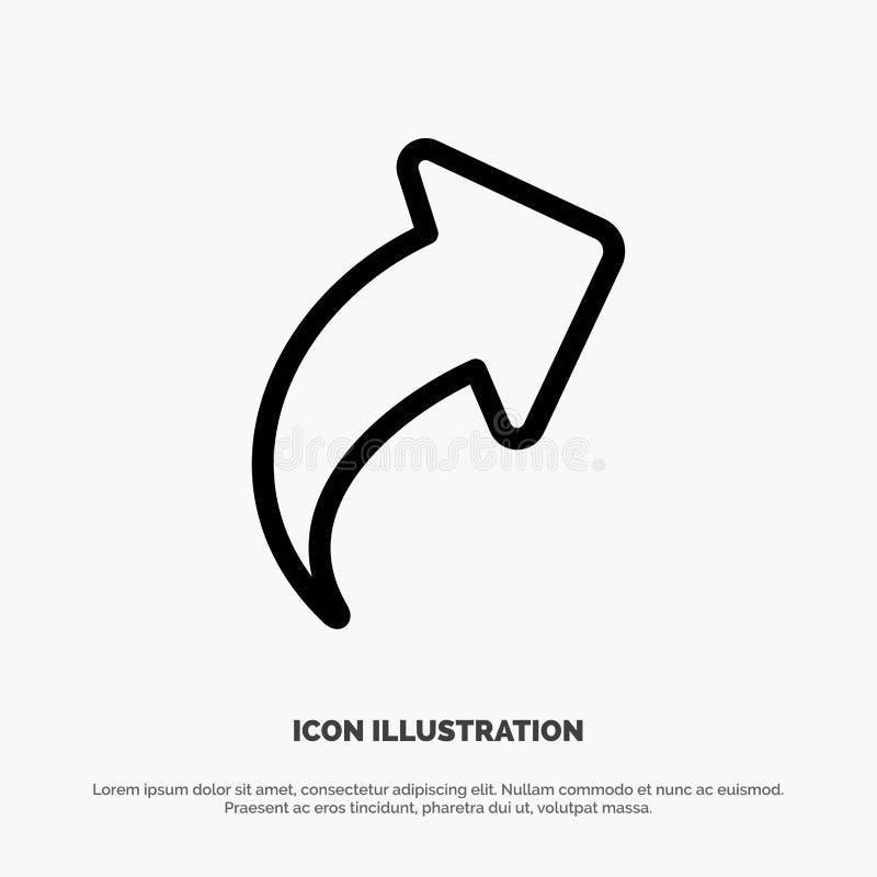 Seta, acima, sentido, linha direita vetor do ícone ilustração stock