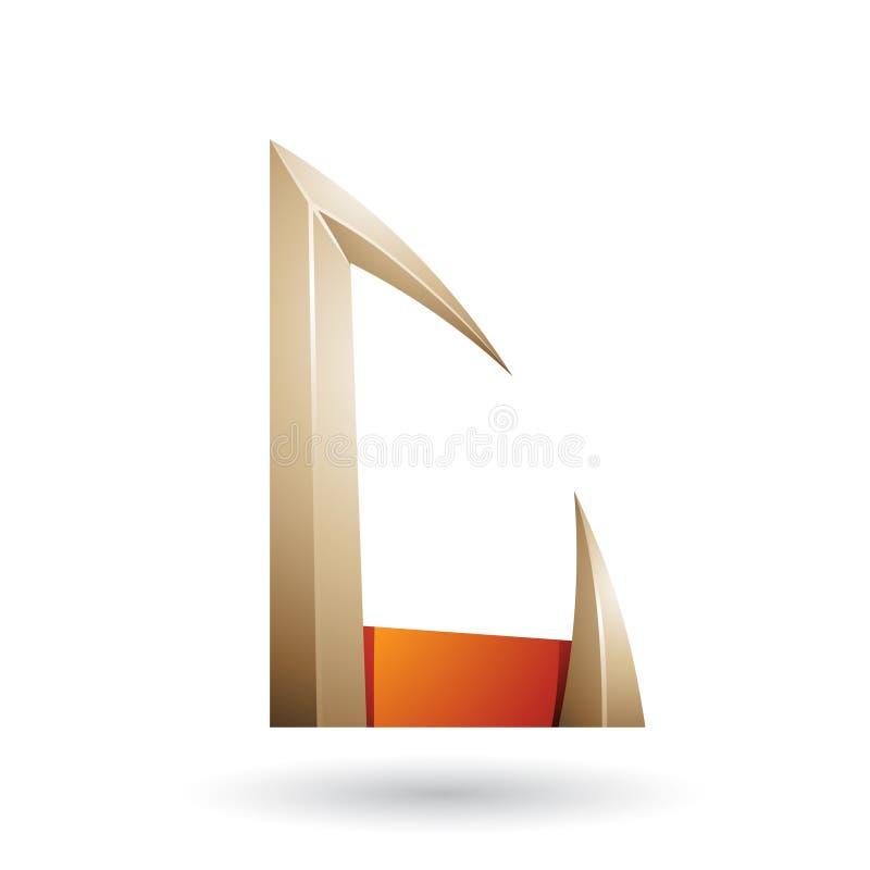 Seta alaranjada e bege a letra dada forma C isolou-se em um fundo branco ilustração royalty free